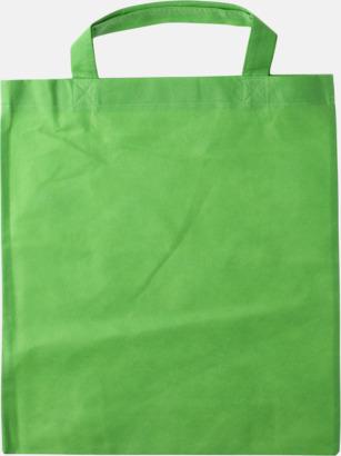 Ljusgrön - Korta handtag Bärkassar med långa eller korta handtag i Non Woven - med tryck