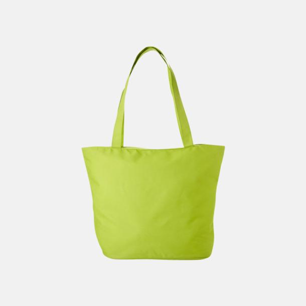 Limegrön Polyester tygpåsar med reklamtryck