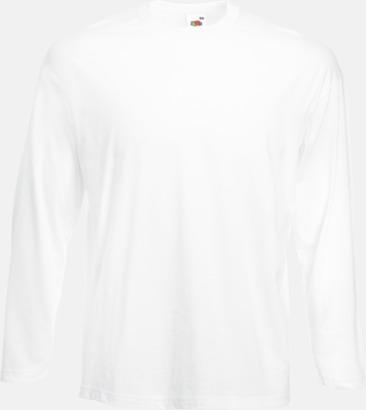 Vit Långärmad t-shirt med reklamtryck