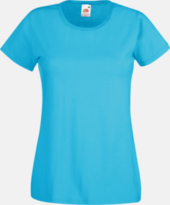 Azure Blue Figursydd damt-shirt med reklamtryck