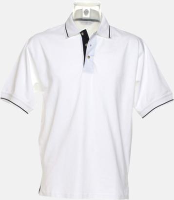 Vit/Marinblå (herr) Tvåfärgade pikétröjor i herr- och dammodell med reklamtryck