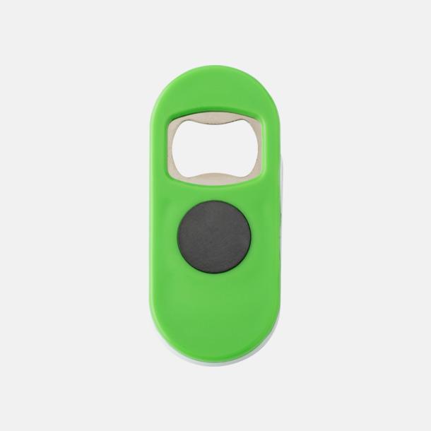Ljusgrön Öppnare med klämma och magnet - med reklamtryck