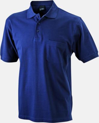Marinblå Fickförsedda pikétröjor med reklamtryck