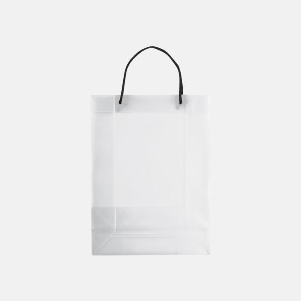 Transparent Vit (stor) Butikskassar i 2 storlekar med reklamtryck