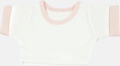 Vit/Baby Pink (kontrast) Enfärgade t-shirts eller med färgad kant - med reklamtryck