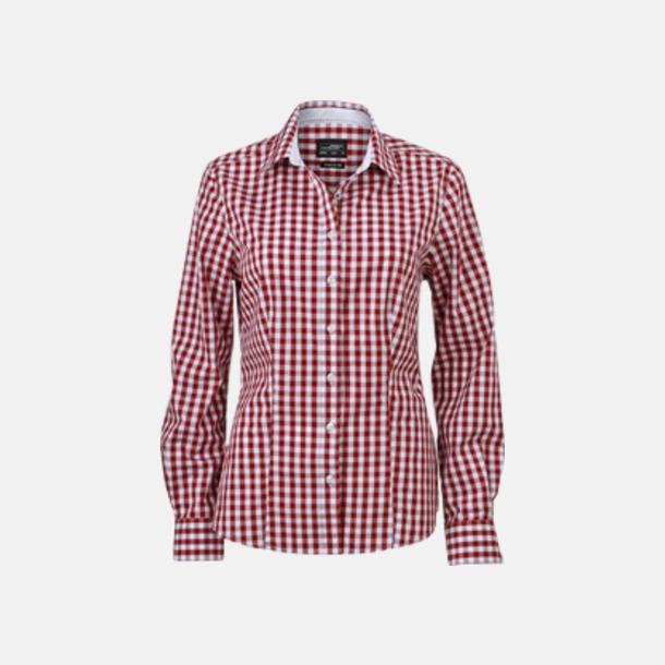 Vinröd/Vit (dam) Rutiga bomullsskjortor & -blusar med reklamtryck