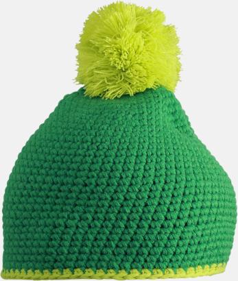 Grön/Acid Yellow Toppluvor med rand och toft i annan färg - med bordyr