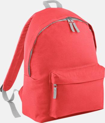 Coral/Ljusgrå Klassisk ryggsäck i 2 storlekar med eget tryck