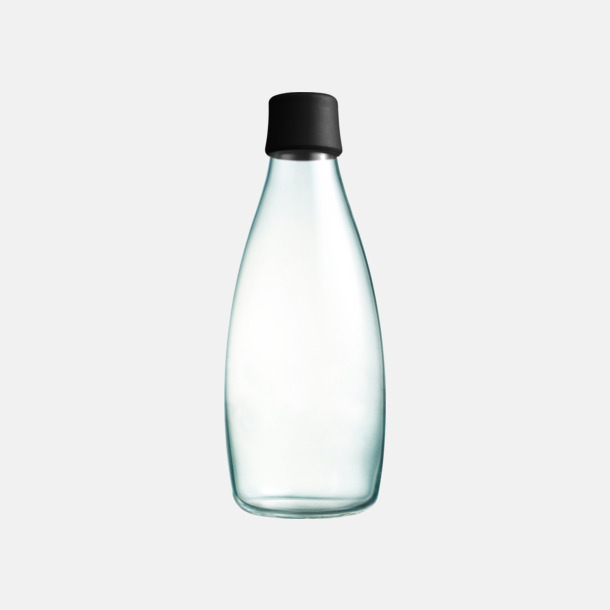 Svart Större glasflaskor med reklamtryck