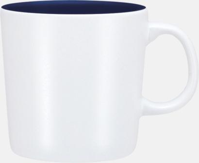 Vit/Marinblå (matt) Koppar med reklamtryck