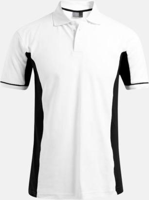 Vit/Svart (herr) Pikétröjor i funktionsmaterial med tryck