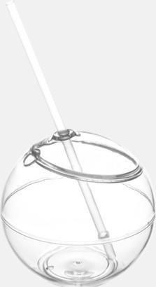 Transparent Klotformad mugg med sugrör - med tryck