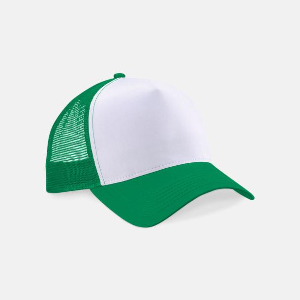 Pure Green/Vit Truckerkepsar med tryck eller brodyr