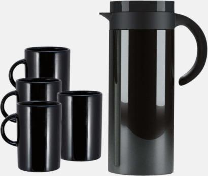 Svart Buffés termoskaffekanna med 4 matchande muggar - med reklamtryck