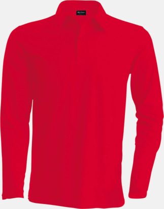 Röd Långärmade herrpikéer i många färger med reklamtryck
