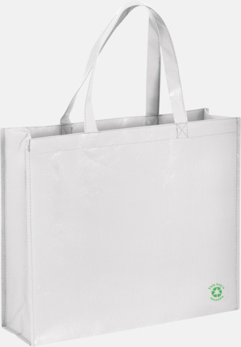 Vit Shoppingbagar med korta handtag - med tryck