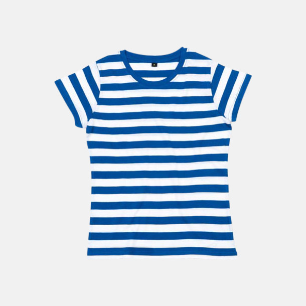 Classic Blue/Vit (dam) Randiga t-shirts i herr-, dam- och barnmodell med reklamtryck