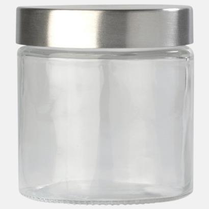 Transparent Platt glasburk med reklamtryck