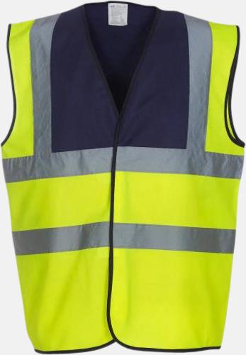 Hi-Vis Yellow/Marinblå Färgglada säkerhetsvästar med reklamtryck