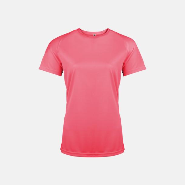 Fluorescerande Rosa Sport t-shirts i många färger för damer - med reklamtryck