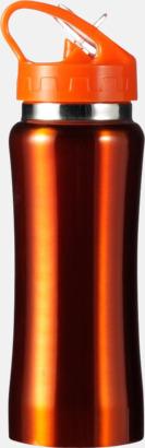 Orange Vattenflaskor med handtag - med reklamtryck