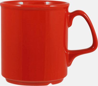 Röd Billiga och stapelbara muggar med tryck
