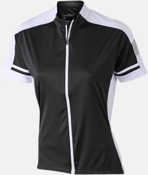 Svart (dam) Herr- och damcykeltröjor med hel dragkedja - med reklamtryck