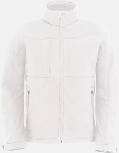 Vit (herr) Softshell-jackor för vuxna och barn - med reklamtryck