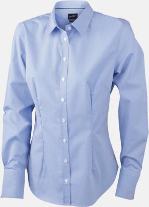 Vit/Ljusblå (dam) Bomullslusar & -skjortor med fina rutor - med reklamtryck