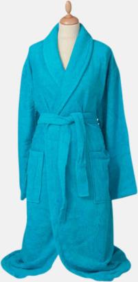 Aqua Blue Färgglada badrockar med brodyr