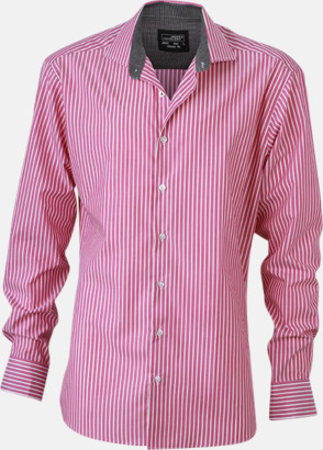 Mörklila-Vit/Graphite (herr) Blusar & skjortor i randigt mönster med reklamtryck