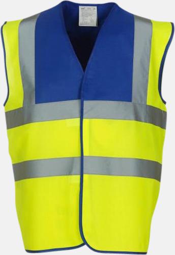 Hi-Vis Yellow/Royal Färgglada säkerhetsvästar med reklamtryck