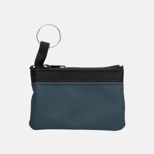 Blå Små plånböcker med nyckelringar i mörka färger med reklamtryck