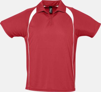 Röd/Vit Färgglada pikétröjor i funktionsmaterial med tryck
