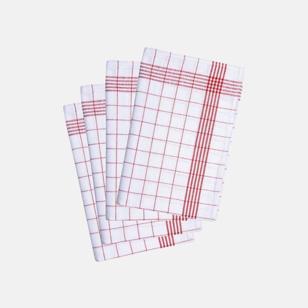 Röd/Vit Klassiska kökshanddukar i rutigt mönster med reklambrodyr