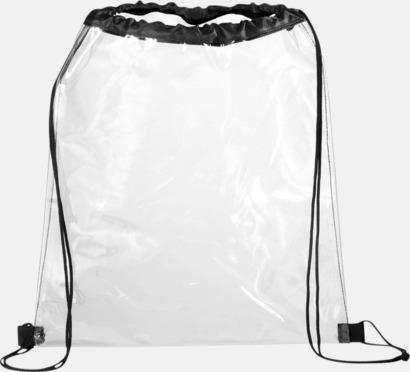 Genomsynliga gymnastikpåsar i plast med reklamtryck