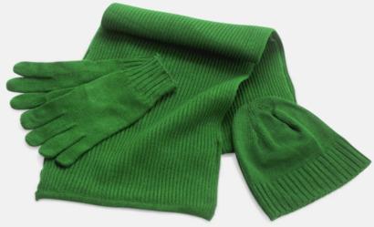 Grön Set med mössa, vantar och halsduk med reklambrodyr