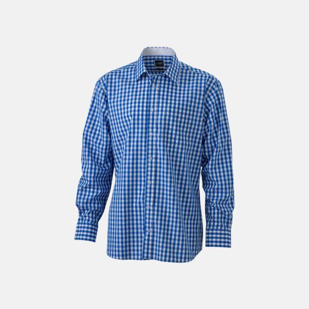 Royal/Vit (herr) Rutiga bomullsskjortor & -blusar med reklamtryck