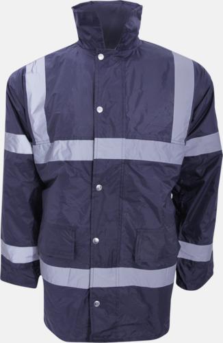 Marinblå Arbetsjackor med reflexband - med tryck