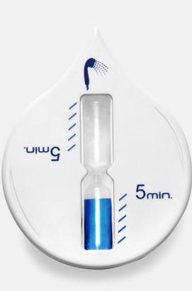 Vit / Blå Timglas med eget tryck - för en bättre miljö