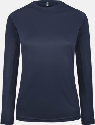 Navy Sport t-shirts med långa ärmar för kvinnor - med reklamtryck