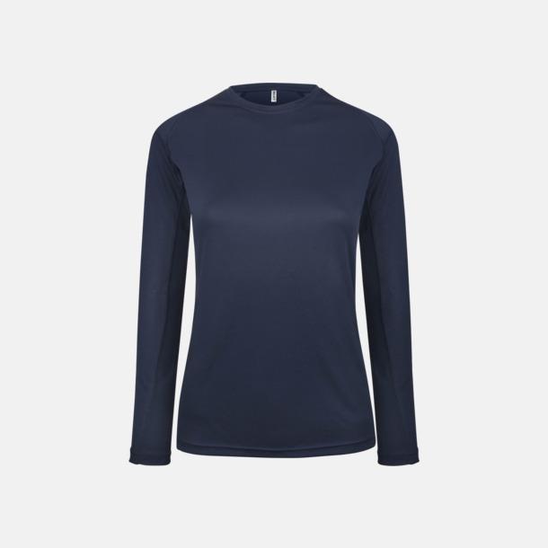 Sporty Navy Sport t-shirts med långa ärmar för kvinnor - med reklamtryck
