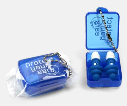 Blå Öronproppar i plastask med tryck