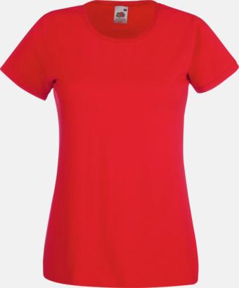 Röd Figursydd damt-shirt med reklamtryck
