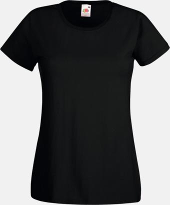 Svart Figursydd damt-shirt med reklamtryck