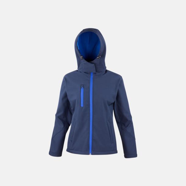 Marinblå/Royal (dam) Hooded softshell-jackor i herr- & dammodell med reklamtryck