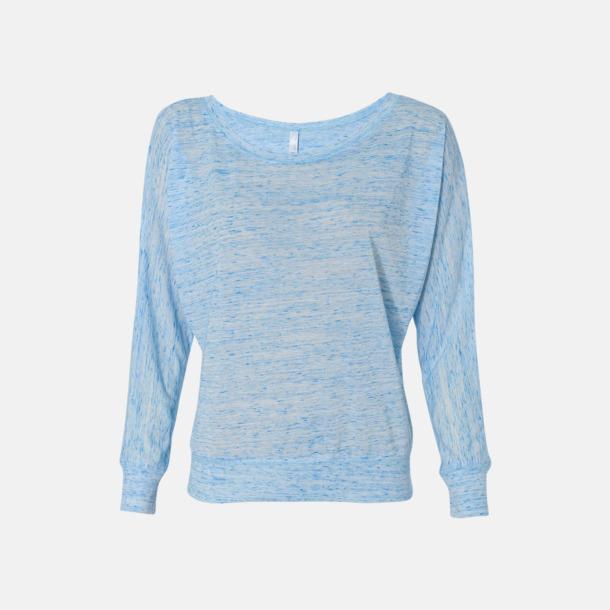 Marble Blue (Heather) Långärmade dam t-shirts med reklamtryck