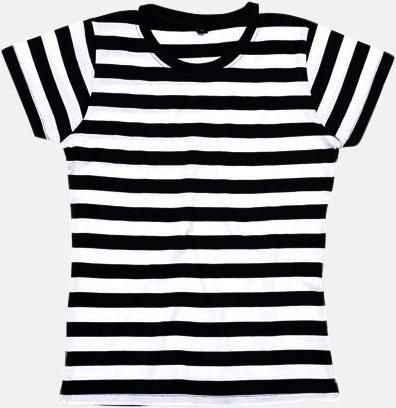 Svart/Vit (dam) Randiga t-shirts i herr-, dam- och barnmodell med reklamtryck