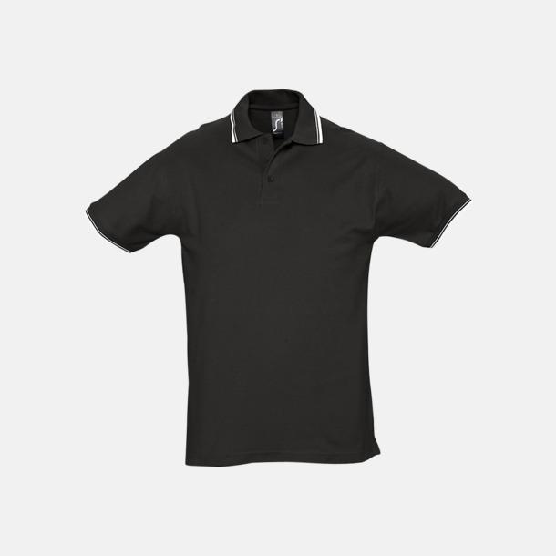 Svart/Vit (herr) Snygga pikétröjor för herr och dam
