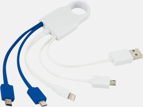 Vit / Blå Flera laddningskablar för olika enheter - med reklamtryck